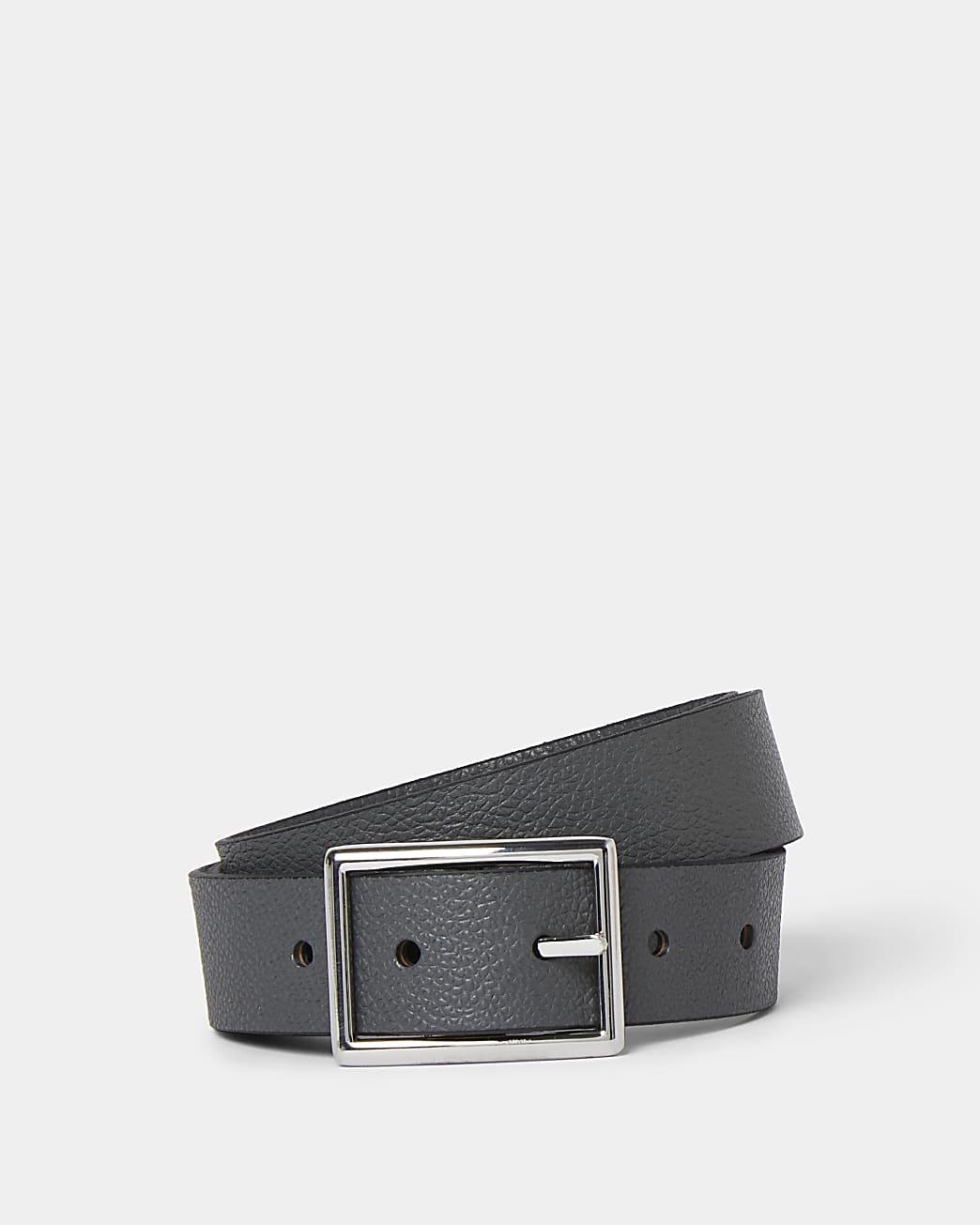 Grey leather buckle belt