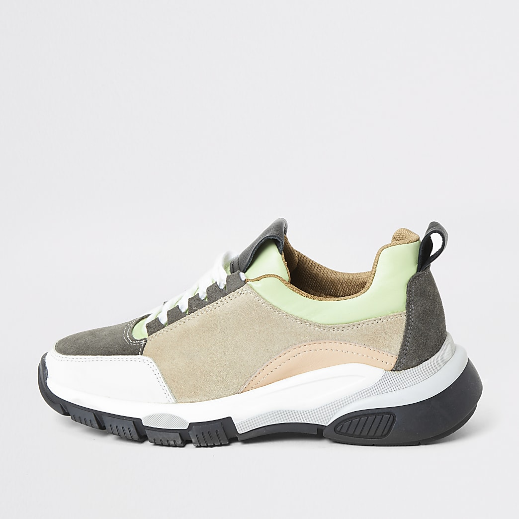 Grey leather chunky lace-up runner trainers