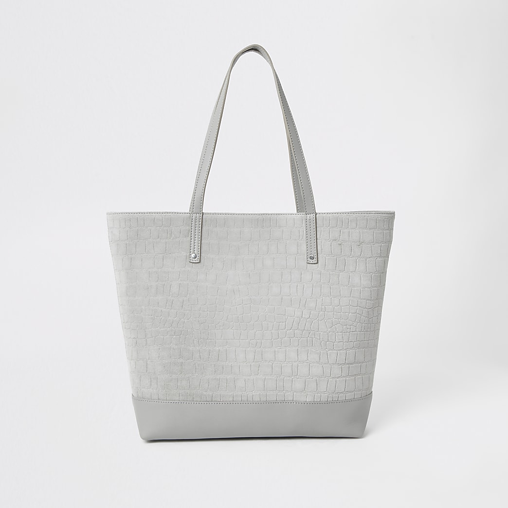 Grey leather croc embossed shopper tote bag