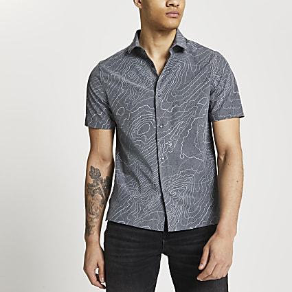 Grey line print slim fit short sleeve shirt