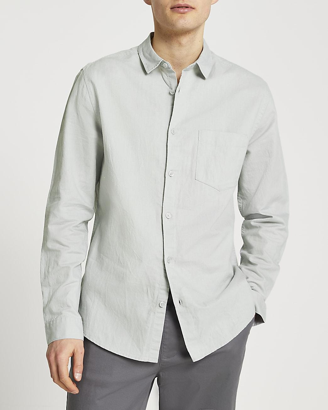 Grey linen long sleeve shirt