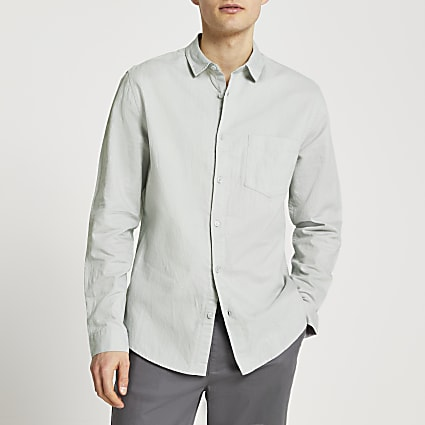 Grey linen long sleeve shirt