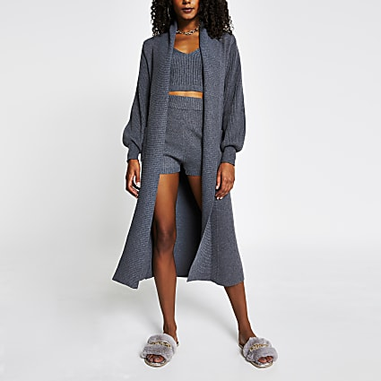 Grey long line balloon sleeve cardigan