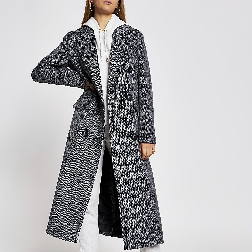 Grey long line double breasted coat