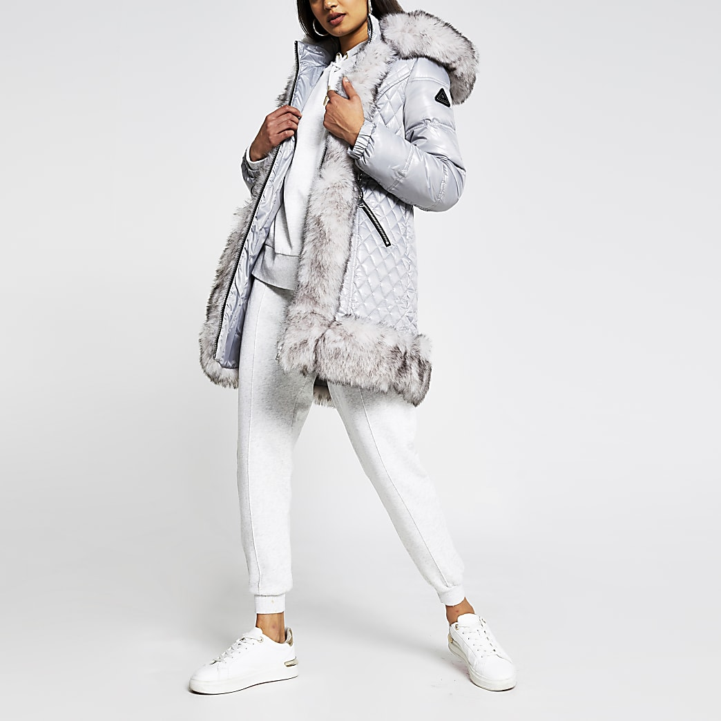 Grey long line fur hem padded jacket