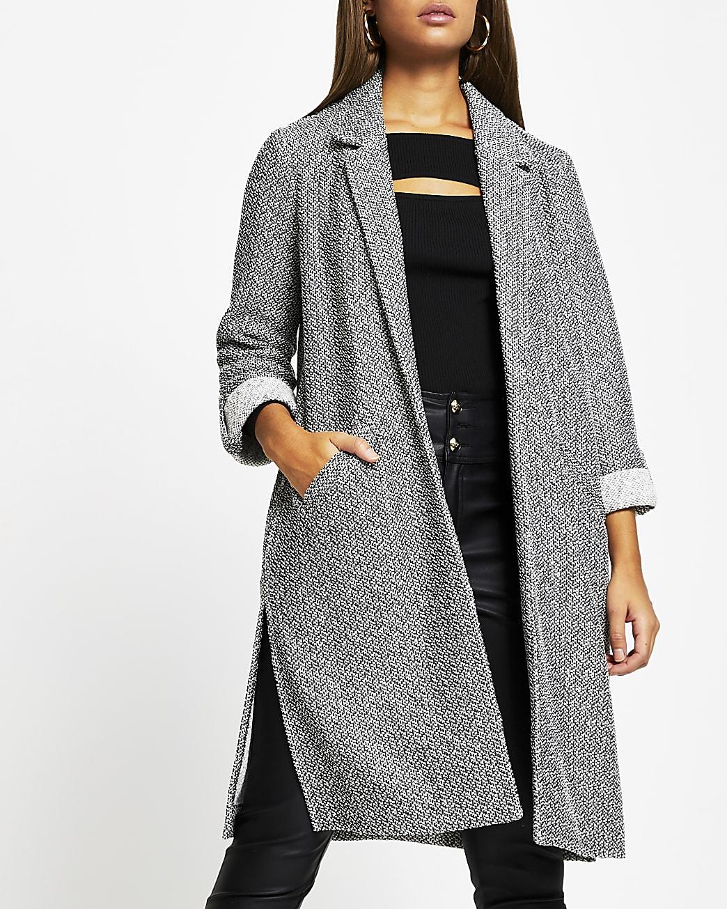 Grey long line jersey duster jacket