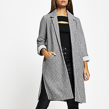 Grey long line jersey duster jacket