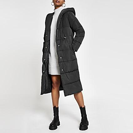 Grey long line shawl collar puffer coat