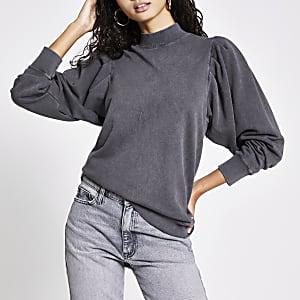 Graues Sweatshirt mit langen Puffärmeln