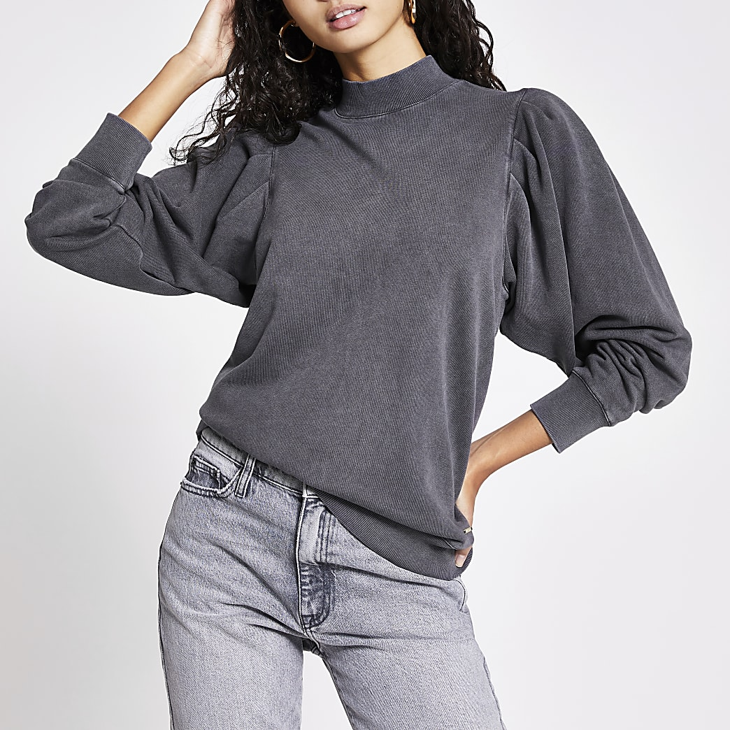 Grey long puff sleeve sweatshirt