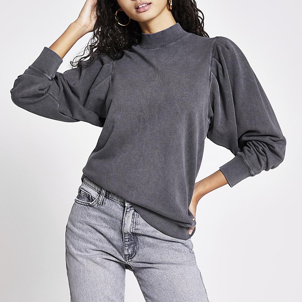 Grey long puff sleeve sweatshirt
