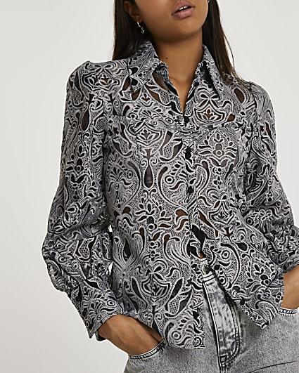 Grey long sleeve balloon sleeve shirt