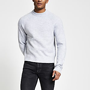 Grijze gebreide boxy-fit trui met lange mouwen