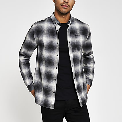 Grey long sleeve check print shirt