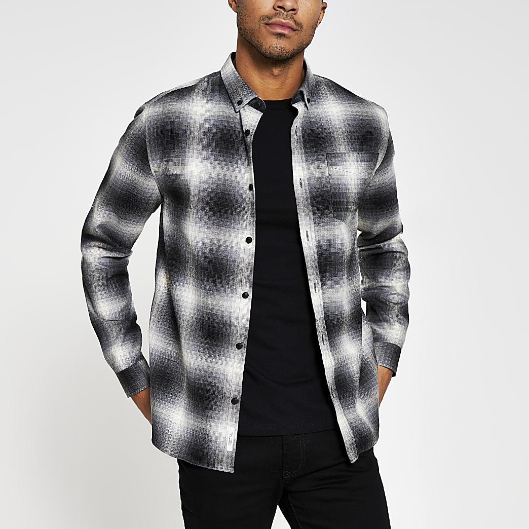 Grey long sleeve check print shirt