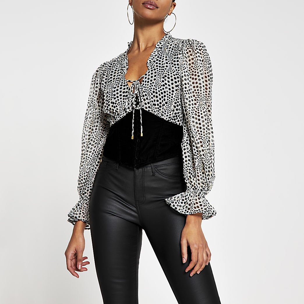 Grey long sleeve corset print blouse top
