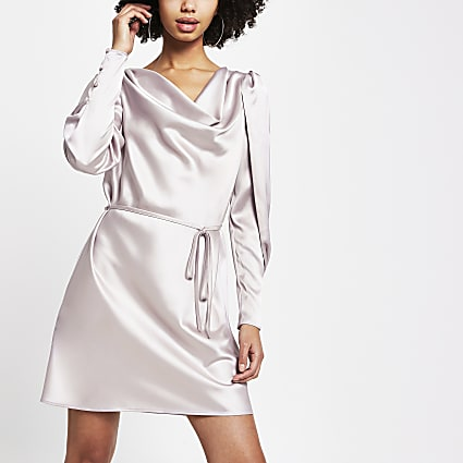 Grey long sleeve cowl neck satin mini dress