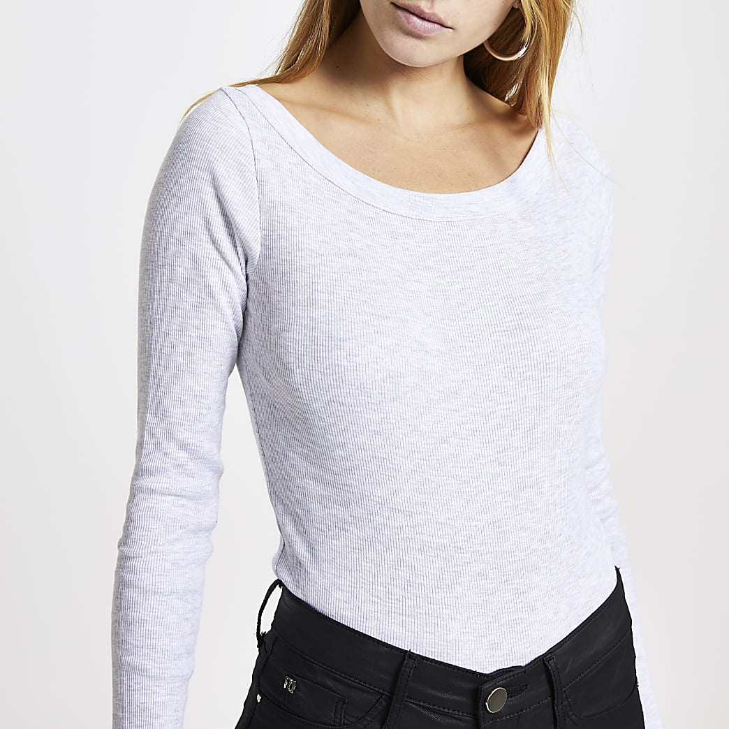 Grey long sleeve fitted top