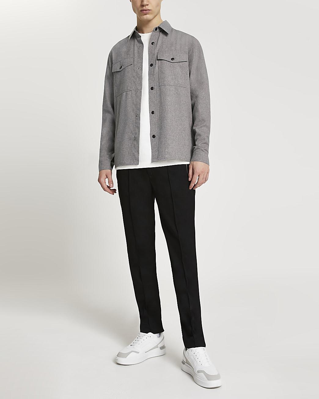 Grey long sleeve flannel shirt