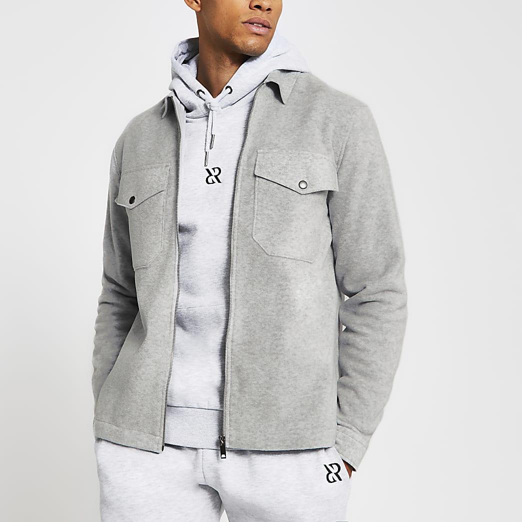 Grey long sleeve fleece zip front shacket