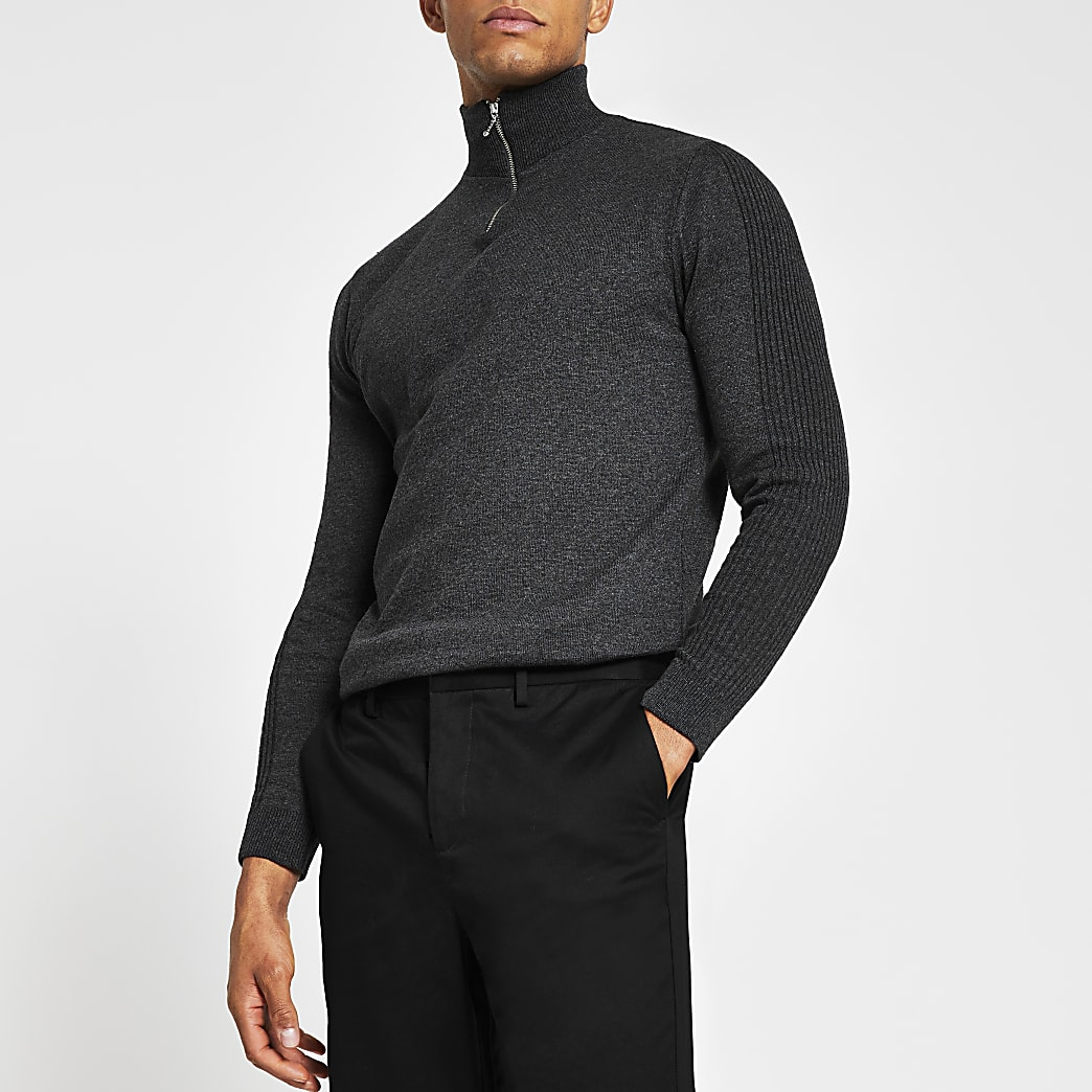 Grey long sleeve half zip funnel neck jumper