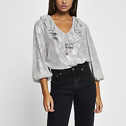 Grey long sleeve jacquard frill v neck top
