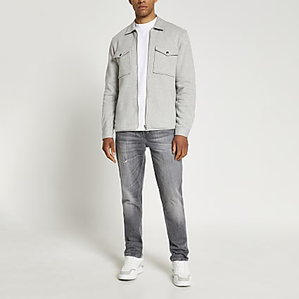 Grey long sleeve jersey shacket