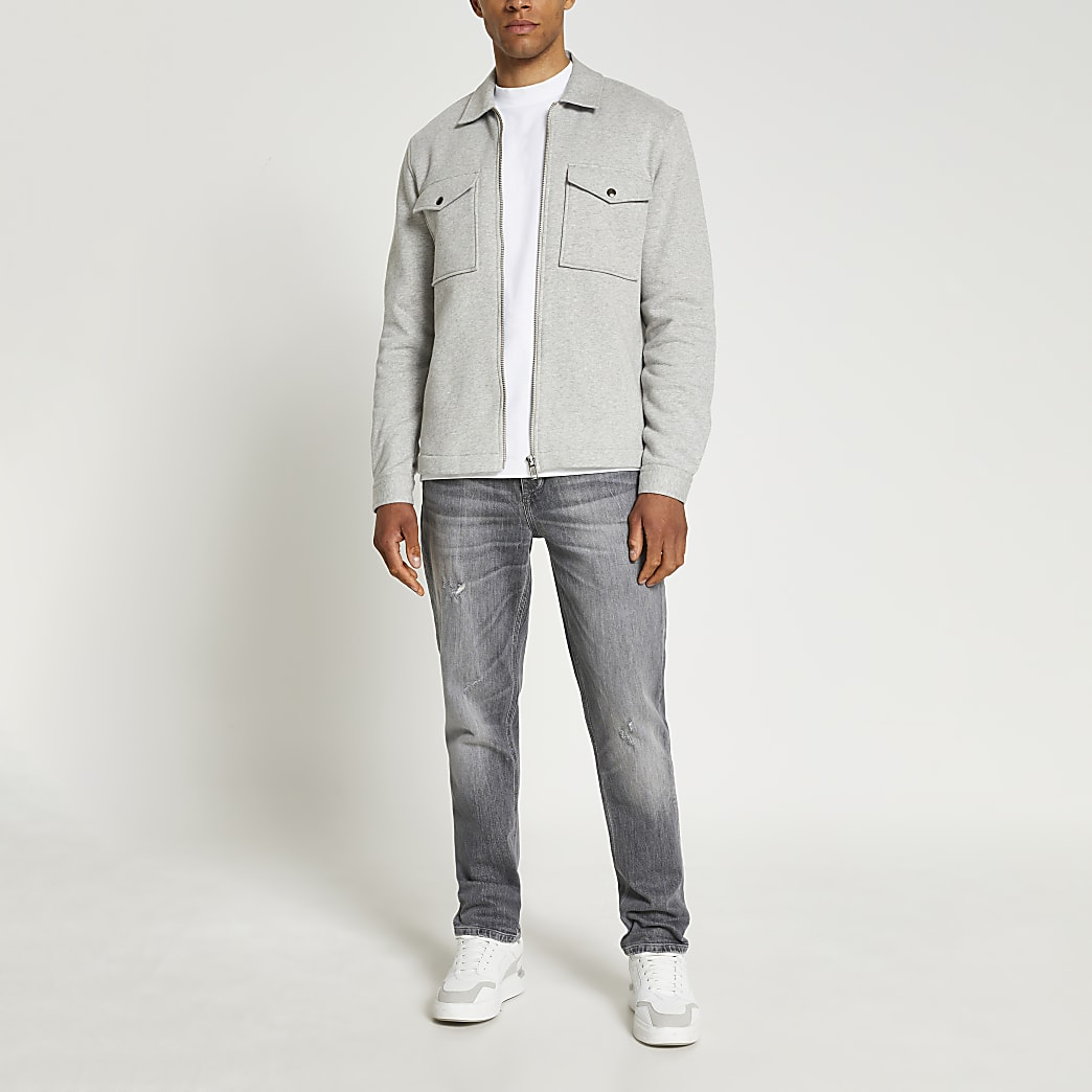 Grey long sleeve jersey shacket