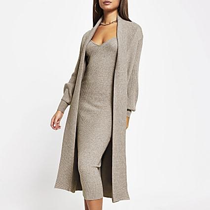 Grey long sleeve knitted maxi cardigan