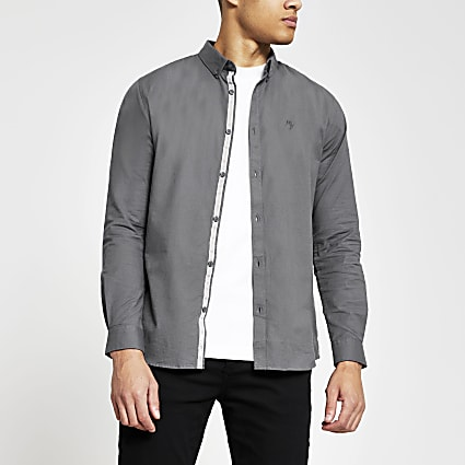 Grey long sleeve muscle fit oxford shirt