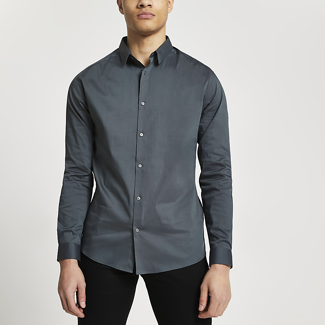 Grey long sleeve muscle fit shirt