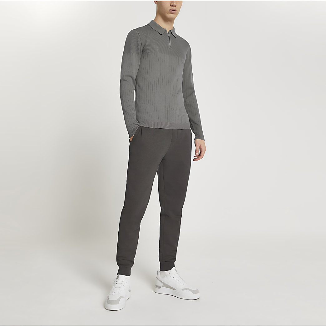 Grey long sleeve muscle kitted polo shirt