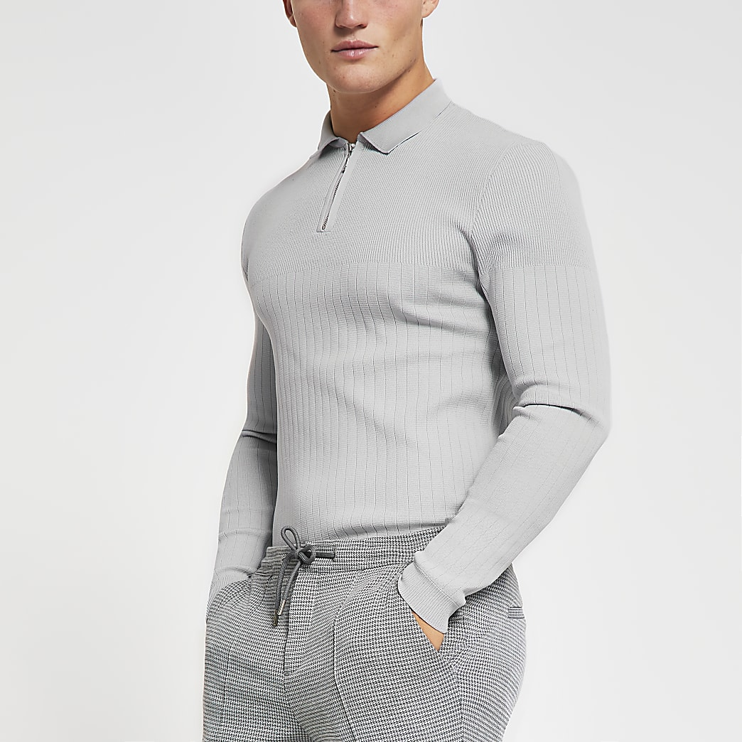 Grey long sleeve muscle knitted polo shirt