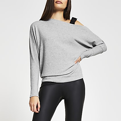 Grey long sleeve one shoulder sweatshirt