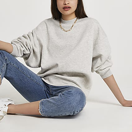Grey long sleeve oversized sweatshirt