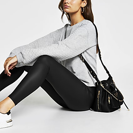 Grey long sleeve quilted sleeve sweatshirt