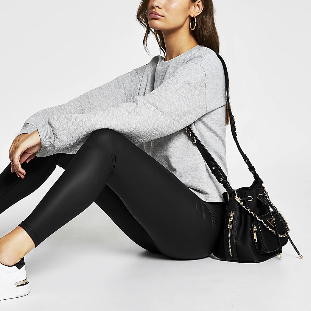 Grey long sleeve quilted sleeve sweatshirt