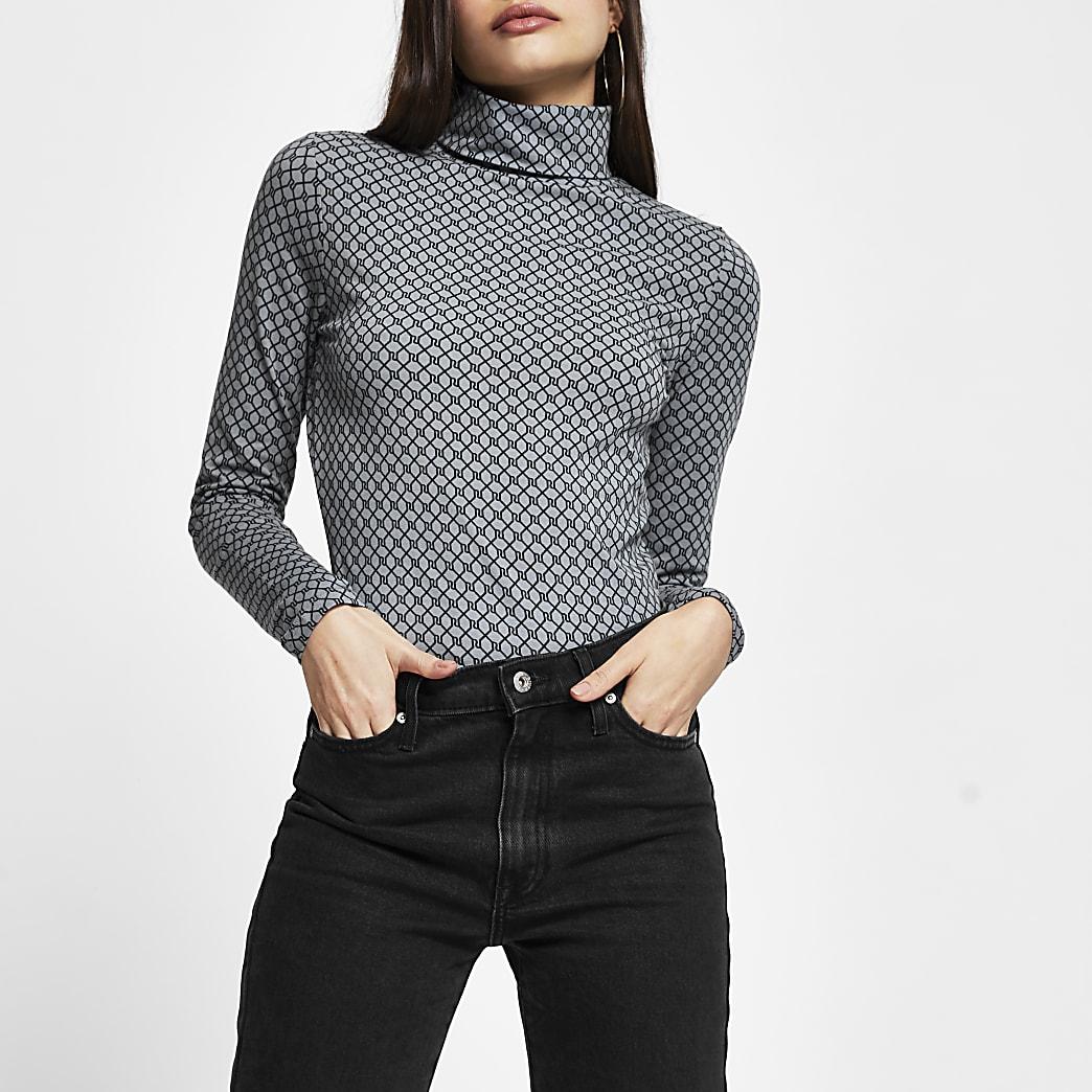 Grey long sleeve RI Monogram roll neck top