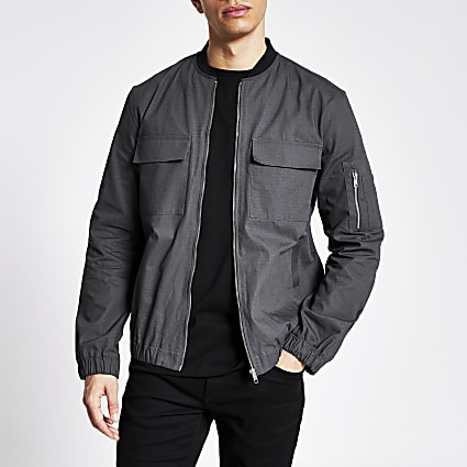Grey long sleeve ripstop bomber jacket