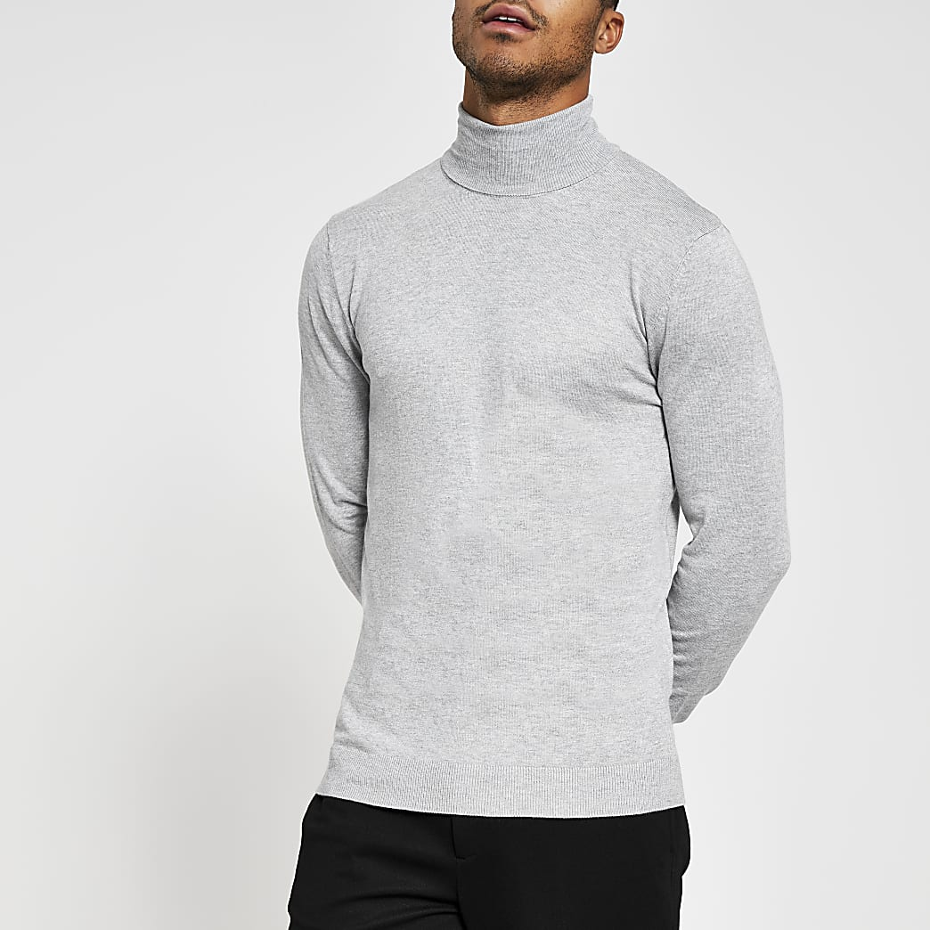 Grey long sleeve roll neck jumper