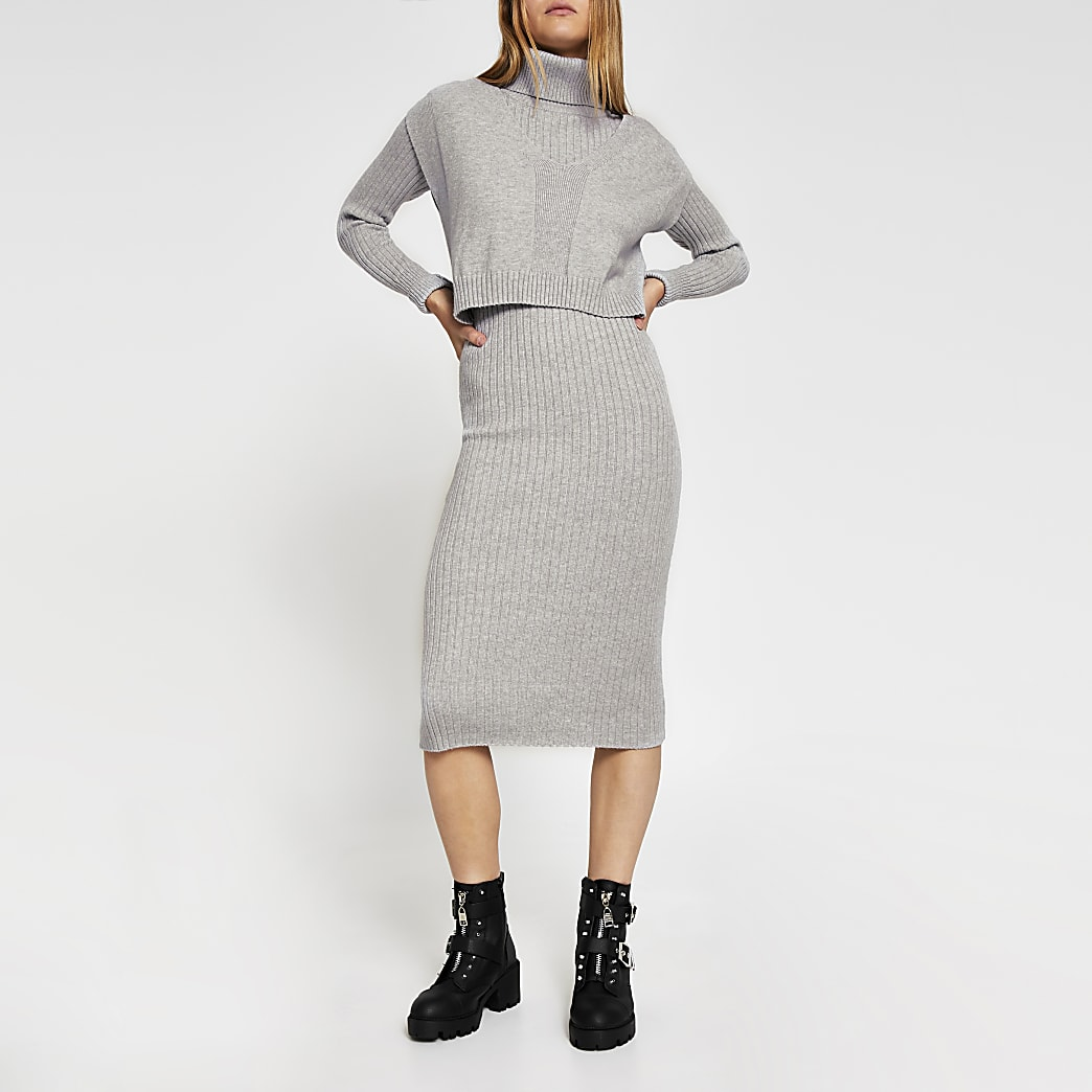 Grey long sleeve roll neck layered dress