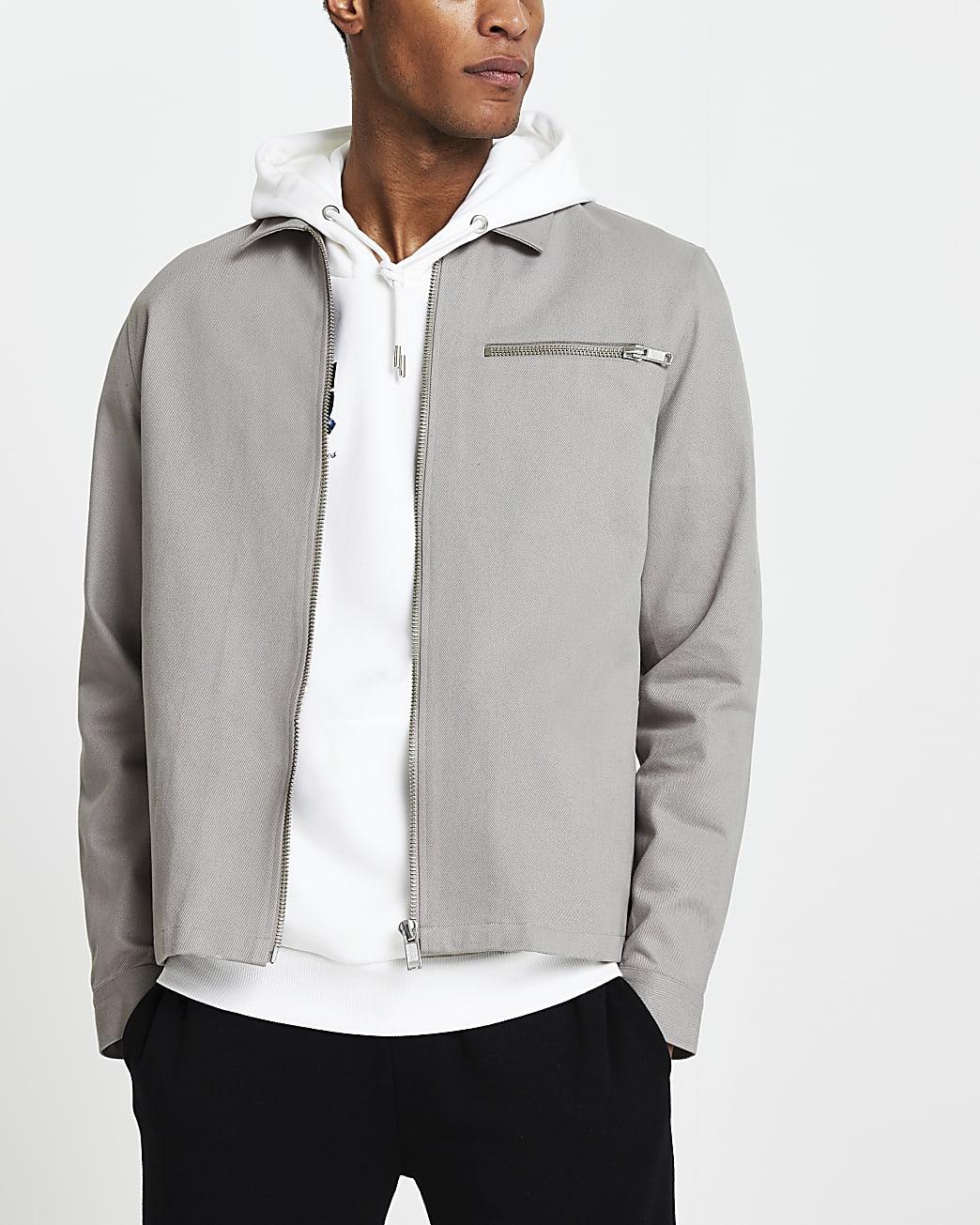 Grey long sleeve shacket