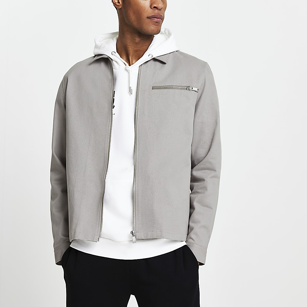 Grey long sleeve shacket