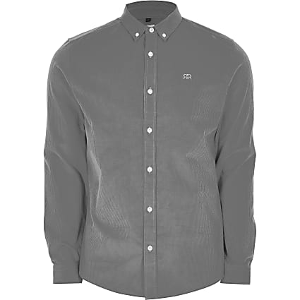 Grey long sleeve slim fit cord shirt