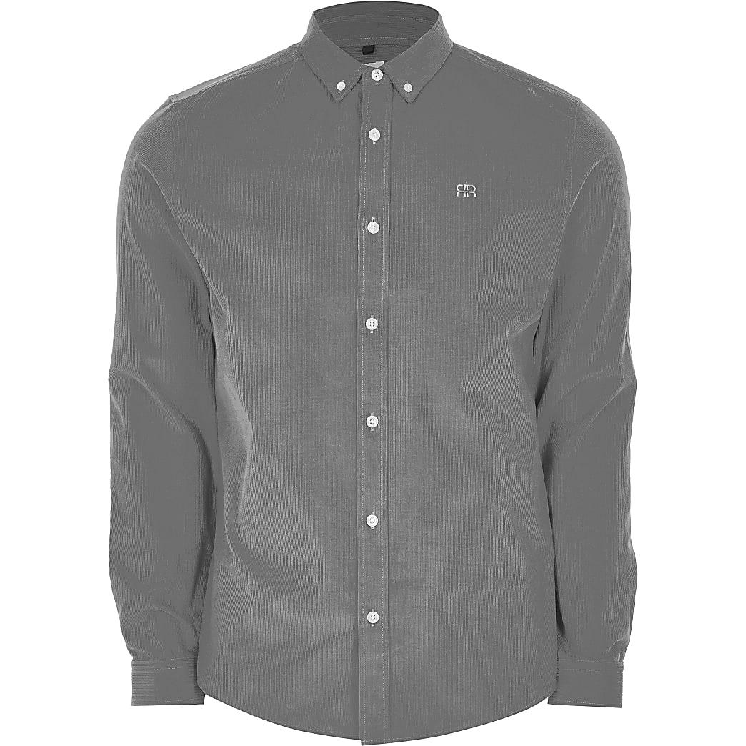Grey long sleeve slim fit cord shirt