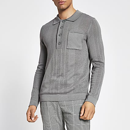 Grey long sleeve slim fit knitted polo shirt