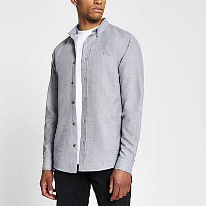 Grey long sleeve slim flannel shirt