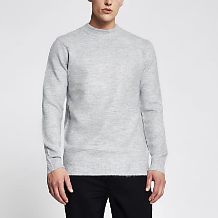 Grey long sleeve soft touch jumper