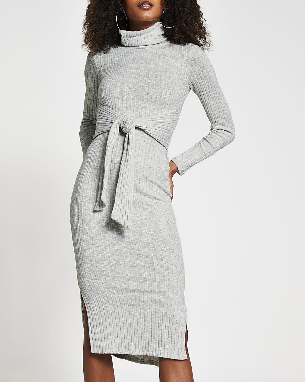 Grey long sleeve tie waist midi jumper dress