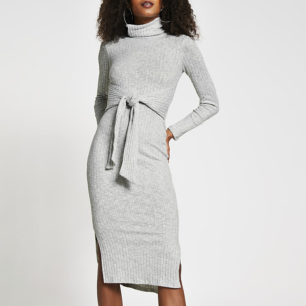 Grey long sleeve tie waist midi jumper dress